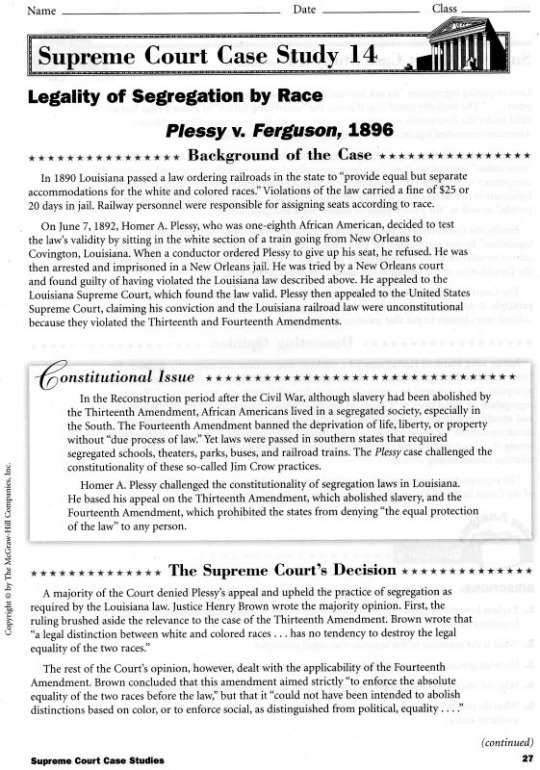 plessy vs ferguson summary essay Plessy v ferguson (1896) was a historic point sacred law instance of the us supreme court it maintained state racial segregation laws for open offices under the tenet of separate but equal.