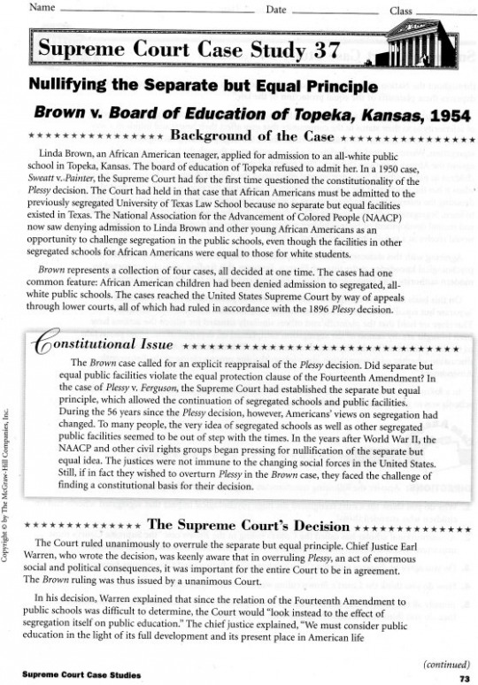 essay on brown vs board of education Brown v board of education is a turning point in history because, even though there is still racism, brown v board of education alerted people that what they were.